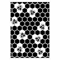 Schablone / Stencil DIN A4 -Bienen mit Waben