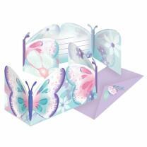 Schmetterling - Flutter -  8 Einladungen mit Umschlag