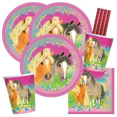 44-teiliges Party-Set Pferde - Pretty Pony - Teller Becher Servietten Trinkhalme für 8 Kinder
