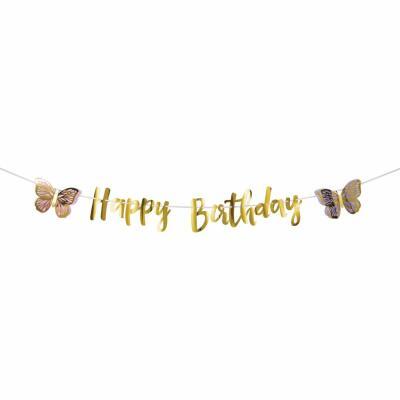 Schmetterling - Girlande Happy Birthday 2,13 m