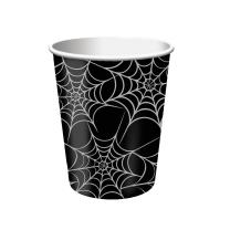 Pappbecher Halloween - Spinnennetz, 8 Stück