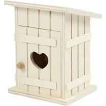 Toilettenhäuschen - Holz natur 6 x 7,5  x 10 cm