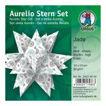 Ursus Aurelio Stern Set Faltblätter 10 x 10 cm - Jade weiß/schwarz/türkis bedruckt (34226800)