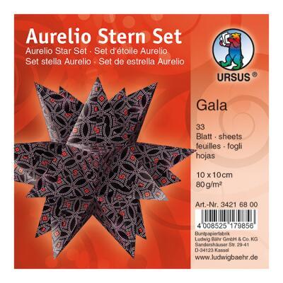 Ursus Aurelio Stern Set Faltblätter 10 x 10 cm - Gala schwarz/rosa/rot bedruckt (34216800)