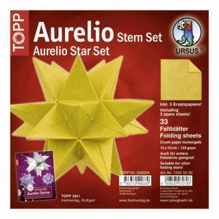 Aurelio Stern Set Faltblätter 15 x 15 cm - Crush paper dunkelgelb veredelt