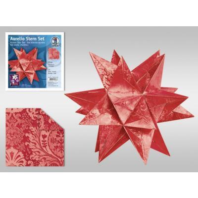 Aurelio Stern Set Faltblätter 15 x 15 cm - Wega rot glänzend veredelt