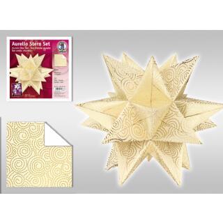 Aurelio Stern Set Faltblätter 15 x 15 cm - Swirl creme/gold veredelt