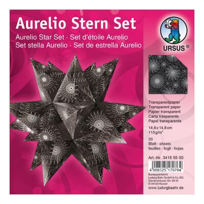 Aurelio Stern Set Faltblätter 14,8 x 14,8 cm - Black & White Spiralornament schwarz Transparentpapier