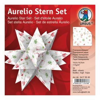Aurelio Stern Set Faltblätter 14,8 x 14,8 cm - Classic Christmas rot/grün Transparentpapier (34175500)