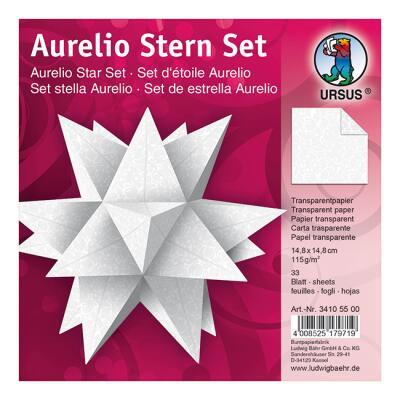 """Aurelio Stern Set Faltblätter 14,8 x 14,8 cm - """"White Line"""" Orient Transparentpapier"""