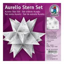Aurelio Stern Set Faltblätter 14,8 x 14,8 cm - Black & White Spiralornament weiß Transparentpapier