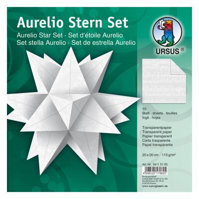 Aurelio Stern Set Faltblätter 14,8 x 14,8 cm - Noten weiß Transparentpapier