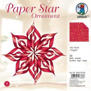 Paper Star Ornament Faltpapier 15 x 15 cm - rot/gold
