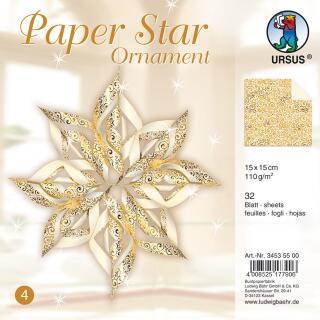 Paper Star Ornament Faltpapier 15 x 15 cm - champagner/gold