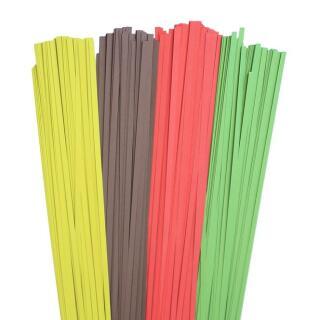 320 Quilling Papierstreifen  5 mm in rot, pistazie, avocado und dunkelbraun