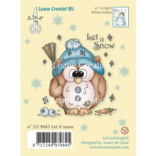 Leane Creatief clear stamp - Eule Let it snow (55.9845)