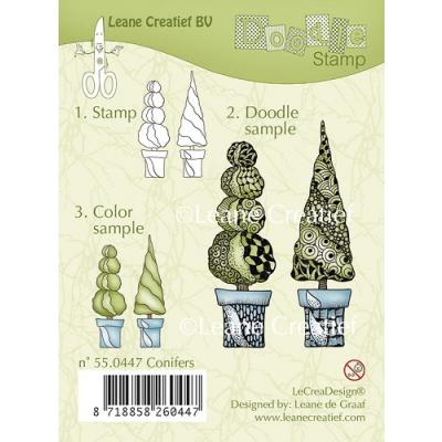 Leane Creatief clear doodle stamp - Koniferen (55.0447)