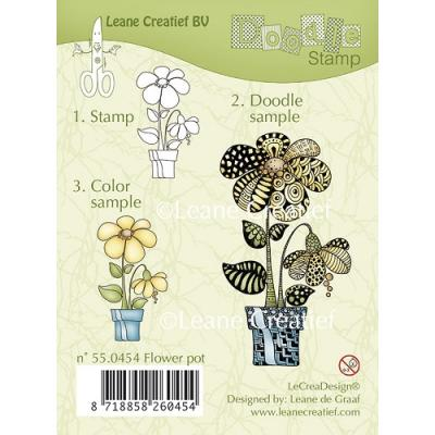Leane Creatief clear doodle stamp - Blumentopf (55.0454)