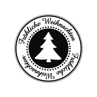 Butterer Holzstempel rund 3 cm  - Fröhliche Weihnachten (862)