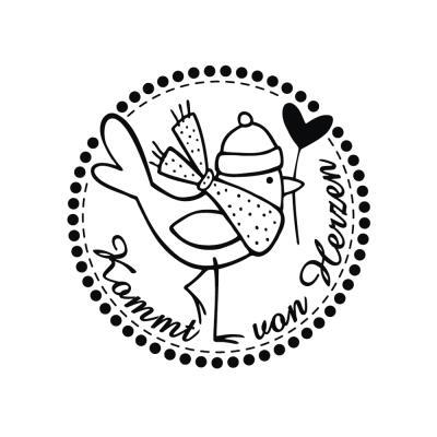 Butterer Holzstempel rund 3 cm - Kommt von Herzen (863)