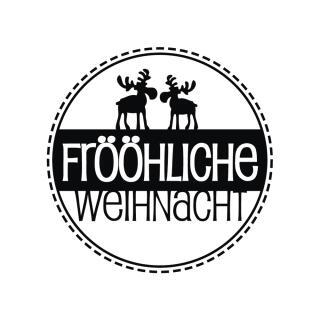 Butterer Holzstempel rund 3 cm - Frööhliche Weihnachten (872)