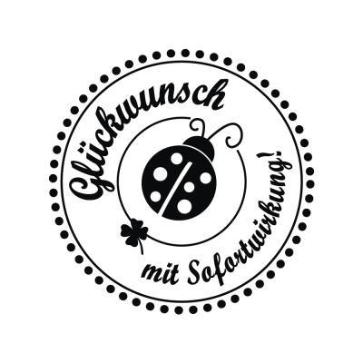 Butterer Holzstempel rund 3 cm - Glückwunsch mit Sofortwirkung (888)
