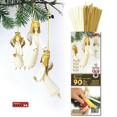 3D Quilling Kit  Engel  luxus weiß/gold