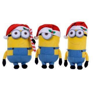 Minions Weihnachten Bob, Stuart, Kevin mit Weihnachtsmütze 24 cm, 3-fach sortiert