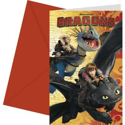 Dragons Einladungskarten mit Umschlag, 6 Stück