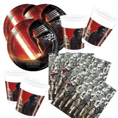 52- teiliges Party-Set Star Wars VII - The Forc e Awakens -  Teller Becher Servietten für 16 Kinder