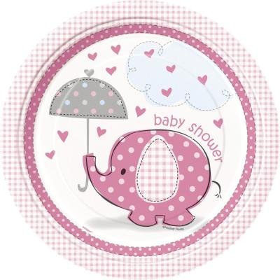 Teller Baby Fantastisch rosa Elefant, 8 Stück