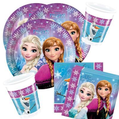 36-teiliges Party Set Frozen die Eiskönigin Nordlichter - Teller Becher Servietten für 8 Kinder