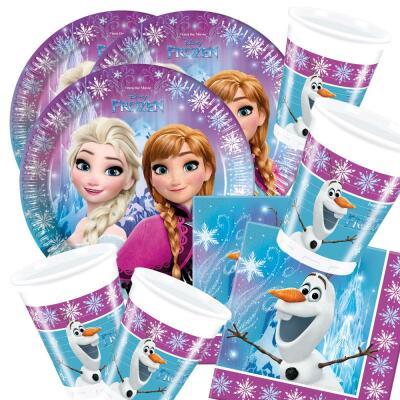 52-teiliges Party Set Frozen die Eiskönigin Nordlichter - Teller Becher Servietten für 16 Kinder