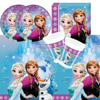 37-teiliges Party Set Frozen die Eiskönigin Nordlichter - Teller Becher Servietten Tischdecke  für 8 Kinder