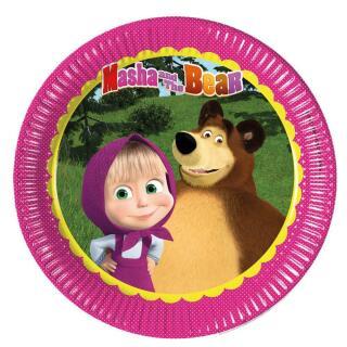 36-teiliges Party-Set Mascha und der Bär Teller Becher Servietten für 8 Kinder