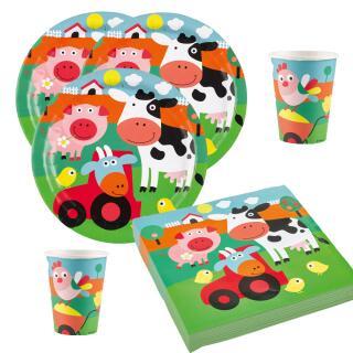 36-teiliges Party-Set Farm Fun - Bauenhof - Teller Becher Servietten für 8 Kinder