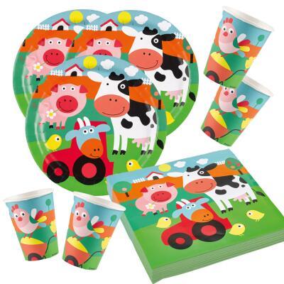 52-teiliges Party-Set Farm Fun - Bauenhof - Teller Becher Servietten für 16 Kinder