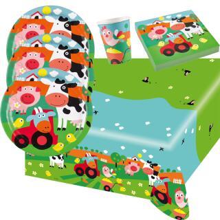 37-teiliges Party-Set Farm Fun - Bauenhof - Teller Becher Servietten Tischdecke  für 8 Kinder