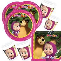 52--teiliges Party-Set Mascha und der Bär Teller Becher Servietten für 16 Kinder