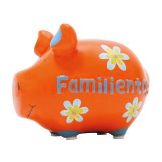 KCG Kleinschwein Keramik Sparschwein - Familientag -  ca. 12 cm x 9 cm