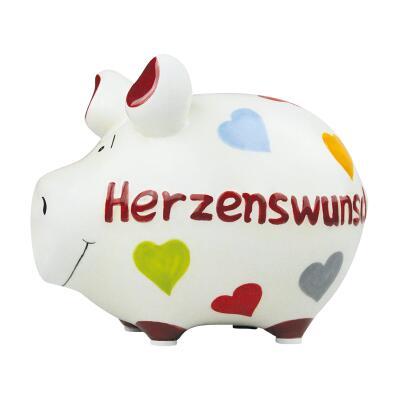 KCG Kleinschwein Keramik Sparschwein - Herzenswunsch -  ca. 12 cm x 9 cm