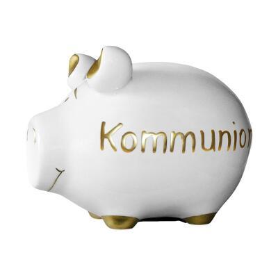KCG Kleinschwein Keramik Sparschwein - Kommunion -  ca. 12 cm x 9 cm