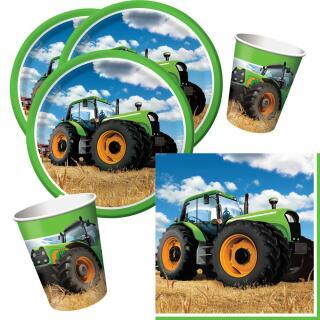 32-teiliges Party-Set Traktor Teller Becher Servietten für 8 Kinder/ Personen