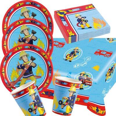 37 teiliges party set feuerwehrmann sam teller becher for Kinder party set