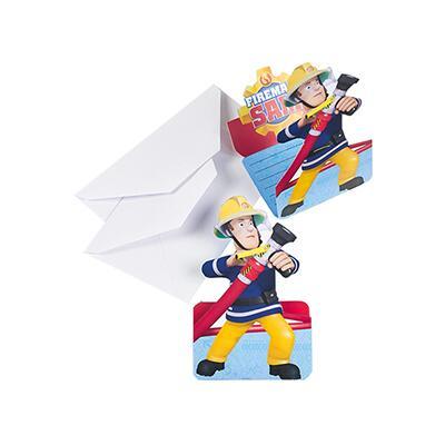 Feuerwehrmann Sam - Einladungskarten mit Umschlag, 8 Stück