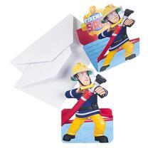 Feuerwehrmann Sam - Einladungskarten mit Umschlag, 8...