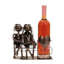 Metall - Flaschenhalter - Paar auf Bank - Liebespaar