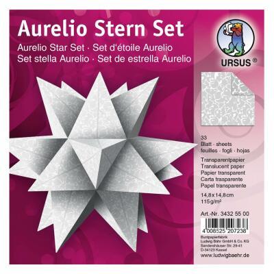 "Ursus Aurelio Stern Set Faltblätter 14,8 x 14,8 cm - ""Orient"" grau Transparentpapier"