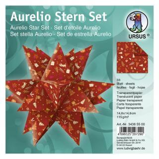 """Ursus Aurelio Stern Set Faltblätter 14,8 x 14,8 cm - """"Winterzauber"""" orange/rot  Transparentpapier (34385500)"""