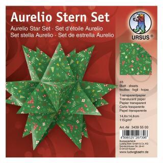 """Ursus Aurelio Stern Set Faltblätter 14,8 x 14,8 cm - """"Winterzauber"""" rot/grün  Transparentpapier (34395500)"""